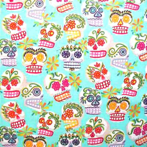 "ALEXANDER HENRY ""MINI CALAVERAS"" Turquoise by 1/2 yard"