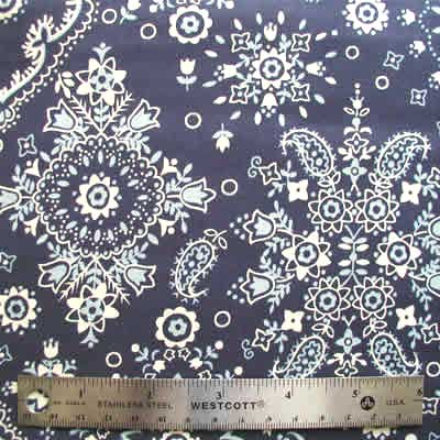 "ALEXANDER HENRY ""COTTONWOOD BANDANA"" Navy 26 inches"