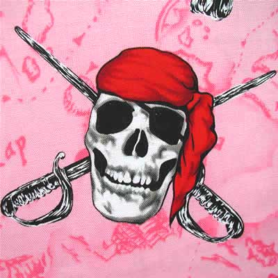 "ROBERT KAUFMAN ""BAD TO THE BONE"" Pink 26 inches"