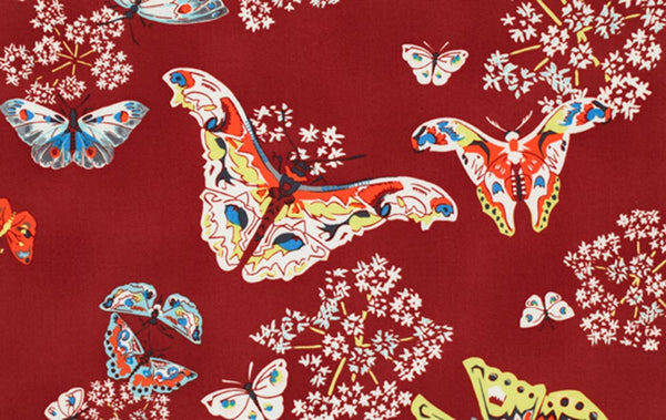 "AMY BUTLER ""ALCHEMY"" QUEEN ANN'S BUTTERFLIES Ruby 29 inches"