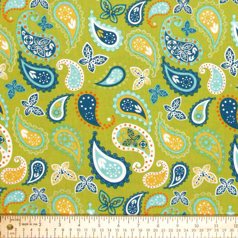 "FREE SPIRIT ""IMPERIAL PHEASANT"" PAISLEY Green by 1/2 yard"