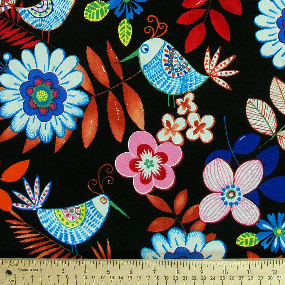 "ALEXANDER HENRY ""PALOMA"" BIRDS Black by 1/2 yard"
