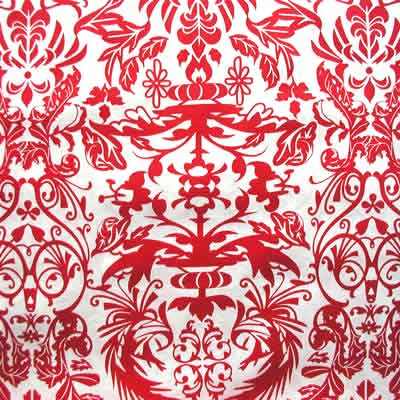 "ROBERT KAUFMAN ""HOT COUTURIER"" DAMASK Red 20 inches"