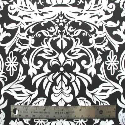 "ROBERT KAUFMAN ""HOT COUTURIER"" DAMASK Black 24 inches"