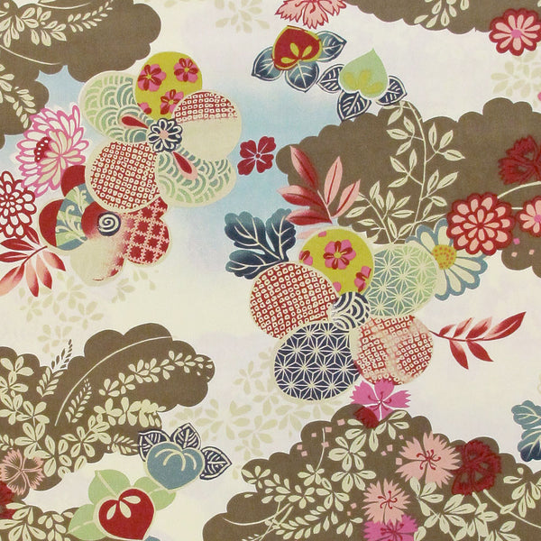 "ROBERT KAUFMAN ""SAKURA"" Brown by 1/2 yard"