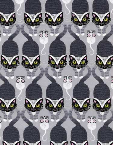 "TIMELESS TREASURES ""CAT AND MOUSE STRIPE"" Grey BY 1/2 YARD"