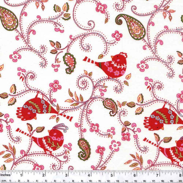 "FREE SPIRIT ""LOVE & JOY"" DOTTY BIRDS White"
