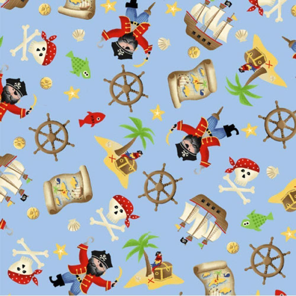 "MAKOWER UK ""PIRATES"" SCATTER Blue by 1/2 yard"