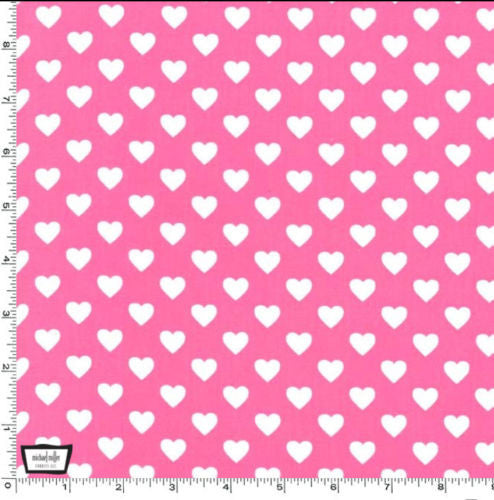 "MICHAEL MILLER ""HEARTS ALL OVER"" Raspberry by 1/2 yard"
