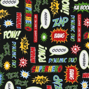 "ROBERT KAUFMAN ""SUPERHERO"" POW! Adventure 1 yard 34.5 inches"