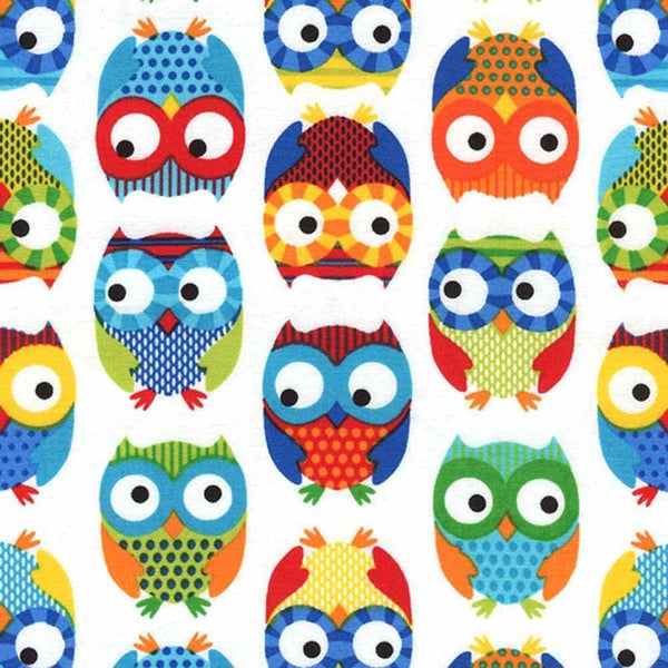 "TIMELESS TREASURES ""SET OWLS"" White 1 yard 20 inches"