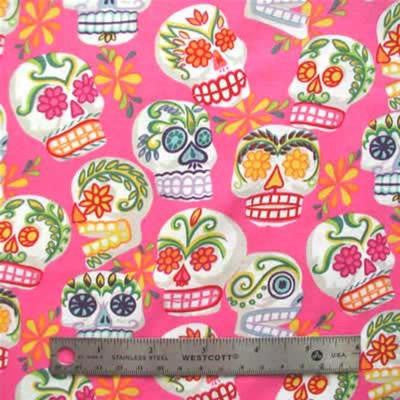 "ALEXANDER HENRY ""MINI CALAVERAS"" Hot Pink by 1/2 yard"