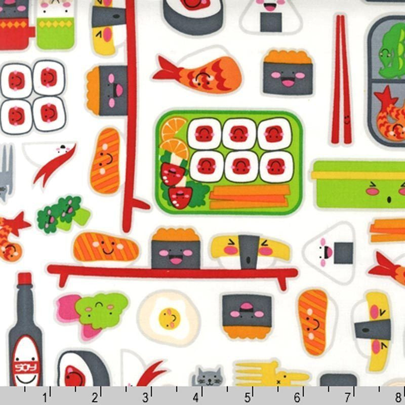 "ROBERT KAUFMAN ""BENTO BOX"" OBENTO Multi BY 1/2 YARD"