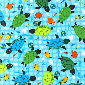 "ROBERT KAUFMAN ""FRIENDLY SEAS"" TURTLE Ocean 1 yards 15 inches"