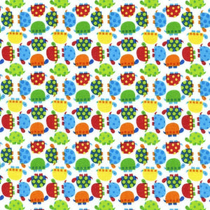 "TIMELESS TREASURES ""MINI TURTLES"" White by 1/2 yard"
