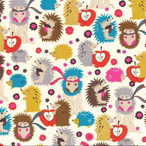 "MICHAEL MILLER ""HEDGEHOG MEADOW"" Cream by 1/2 yard"