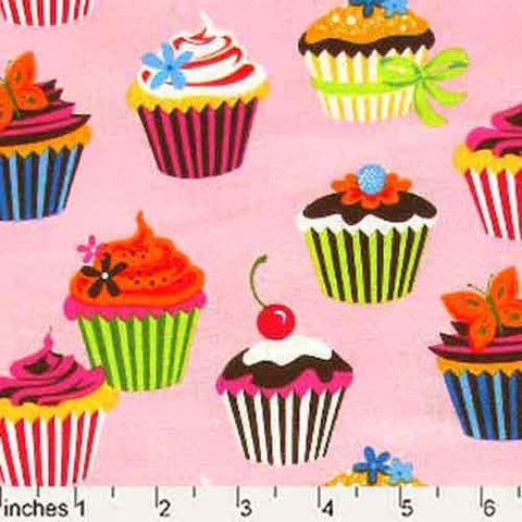 "ROBERT KAUFMAN ""SWEET TOOTH"" CUPCAKES Camellia by 1/2 yard"