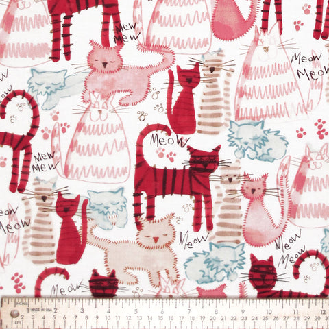 "MICHAEL MILLER ""MEOW MEOW"" Pink by 1/2 yard"