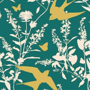 "JOEL DEWBERRY ""BUNGALOW"" SWALLOW STUDY Teal by 1/2 yard"