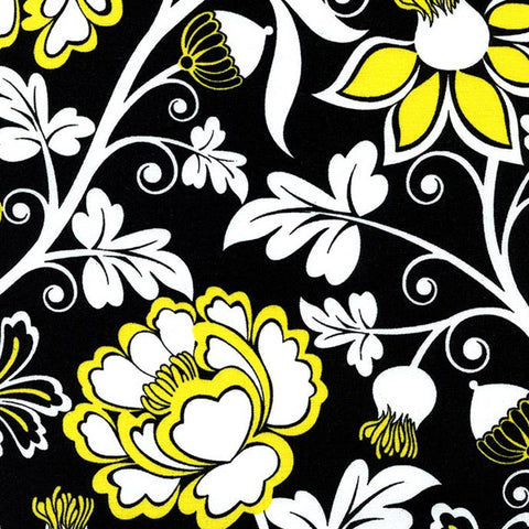 "TIMELESS TREASURES ""TAXI"" Floral by Alice Kennedy by 1/2 yard"