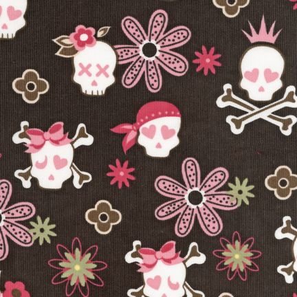 "ROBERT KAUFMAN ""COOL CORDS"" Skulls Sable"