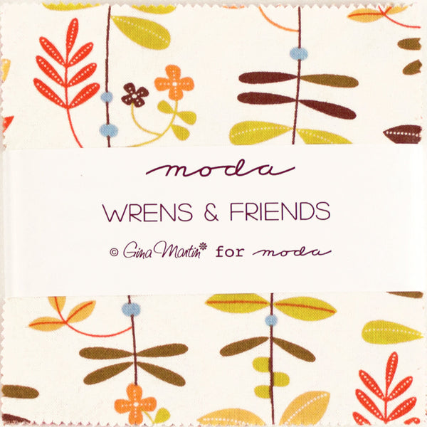 "MODA ""WRENS & FRIENDS"" CHARM PACK 5"" SQUARES 42 pc"