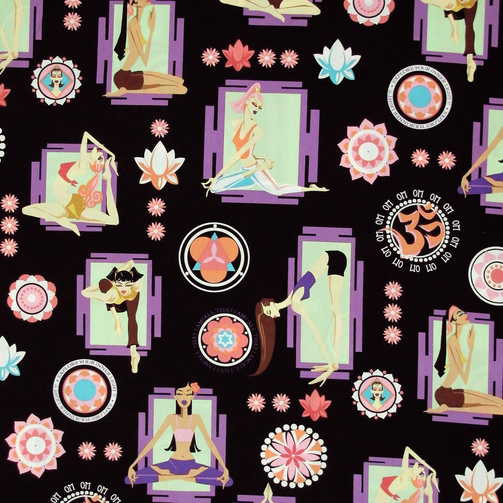 "ROBERT KAUFMAN ""DIVA DELIGHTS"" YOGA Black by 1/2 yard"