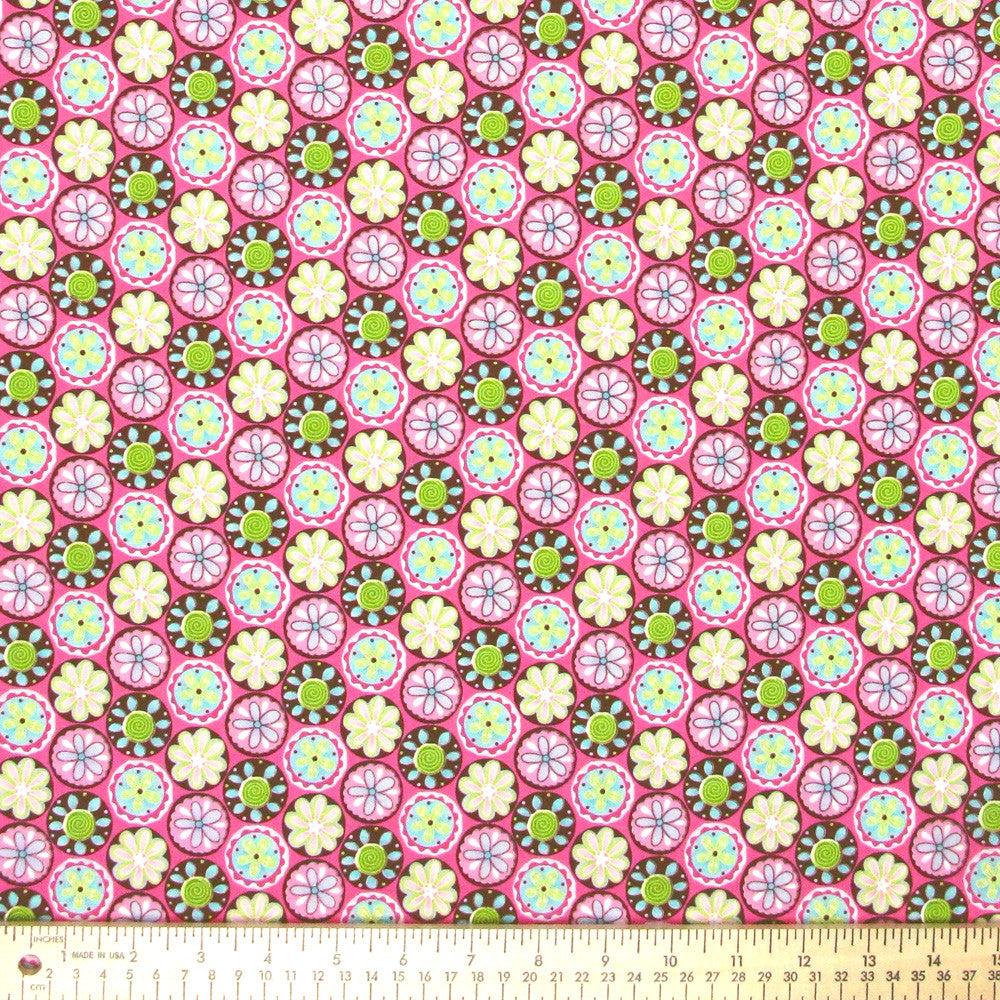 "TIMELESS TREASURES ""ACORN"" FLORAL DOT Pink 20 inches"