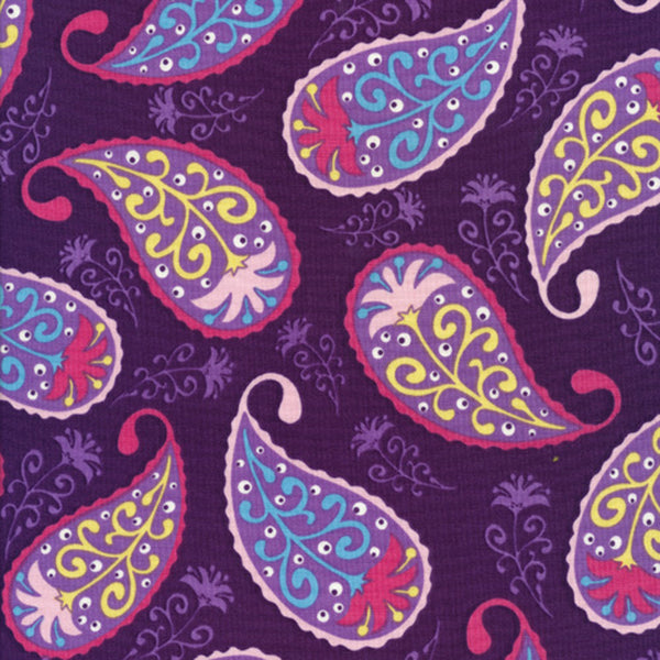 "TIMELESS TREASURES ""BERKELEY"" PAISLEY Purple 31 inches"