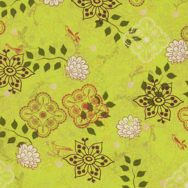 "ART GALLERY ""BOTANICA"" BLOOM Lime by 1/2 yard"