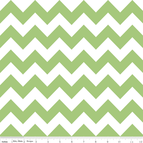 "RILEY BLAKE ""CHEVRON"" MEDIUM CHEVRON Green by 1/2 yard"