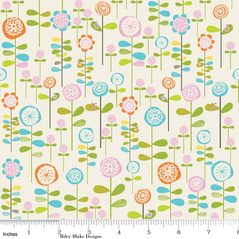 "RILEY BLAKE ""HAPPIER"" GARDEN White by 1/2 yard"