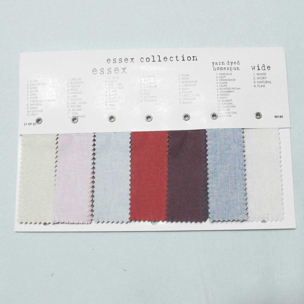 "ROBERT KAUFMAN ""ESSEX LINEN"" COLOR CARD Newest Version include New 5 colors of ESSEX Yarn Dyed!"