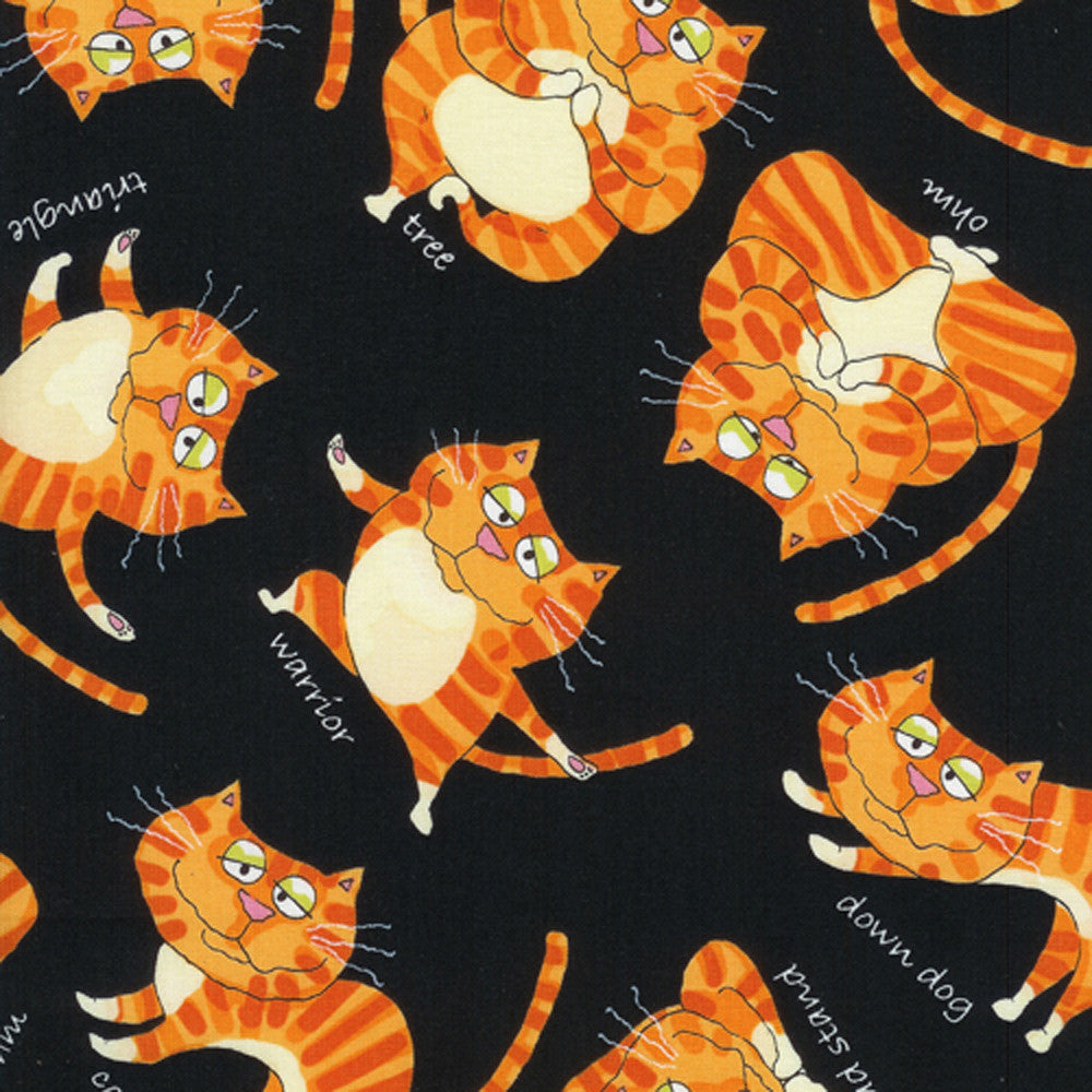 "TIMELESS TREASURES ""YOGA CATS"" Orange"