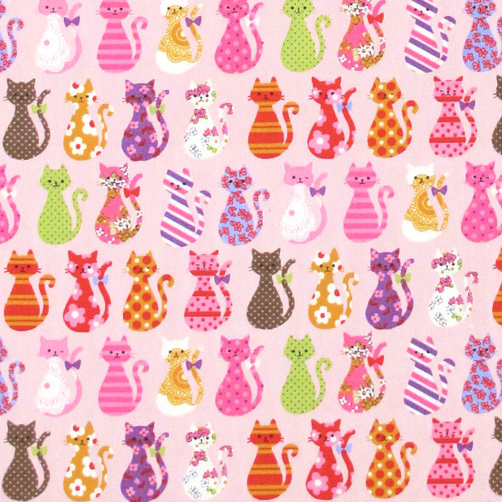 "Kokka ""COLORFUL CATS"" Pink Japanese import Oxford Cotton by 1/2 yard"