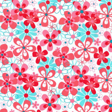 "MICHAEL MILLER ""NEARBY FLORAL"" Aqua BY 1/2 YARD"