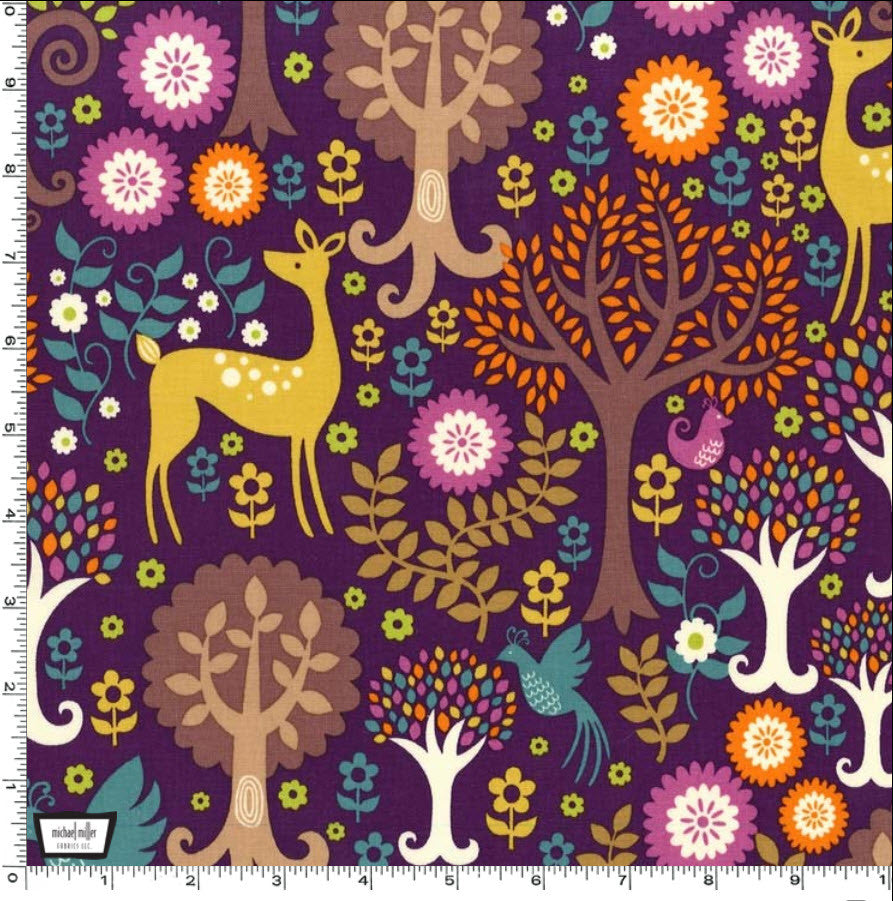 "MICHAEL MILLER ""NORWEGIAN WOODS"" FANTASY FOREST Purple by 1/2 yard"