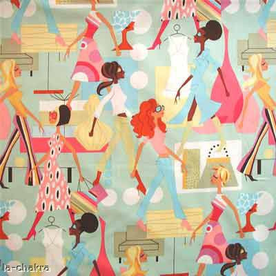 "ALEXANDER HENRY ""FASHION GIRLS"" Blue 1 yard"