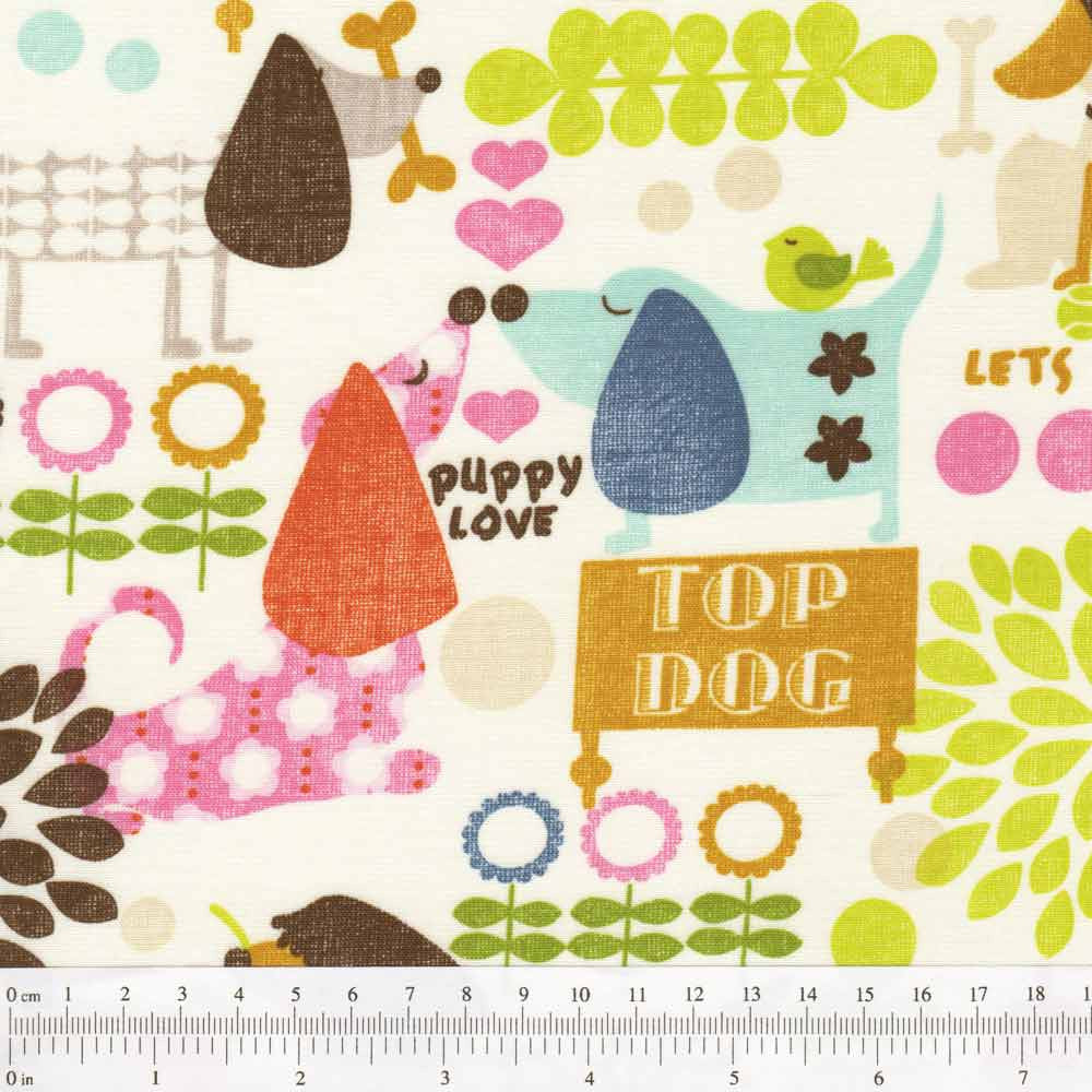 "TIMELESS TREASURES ""TOP DOG ALL OVER"" Cream"