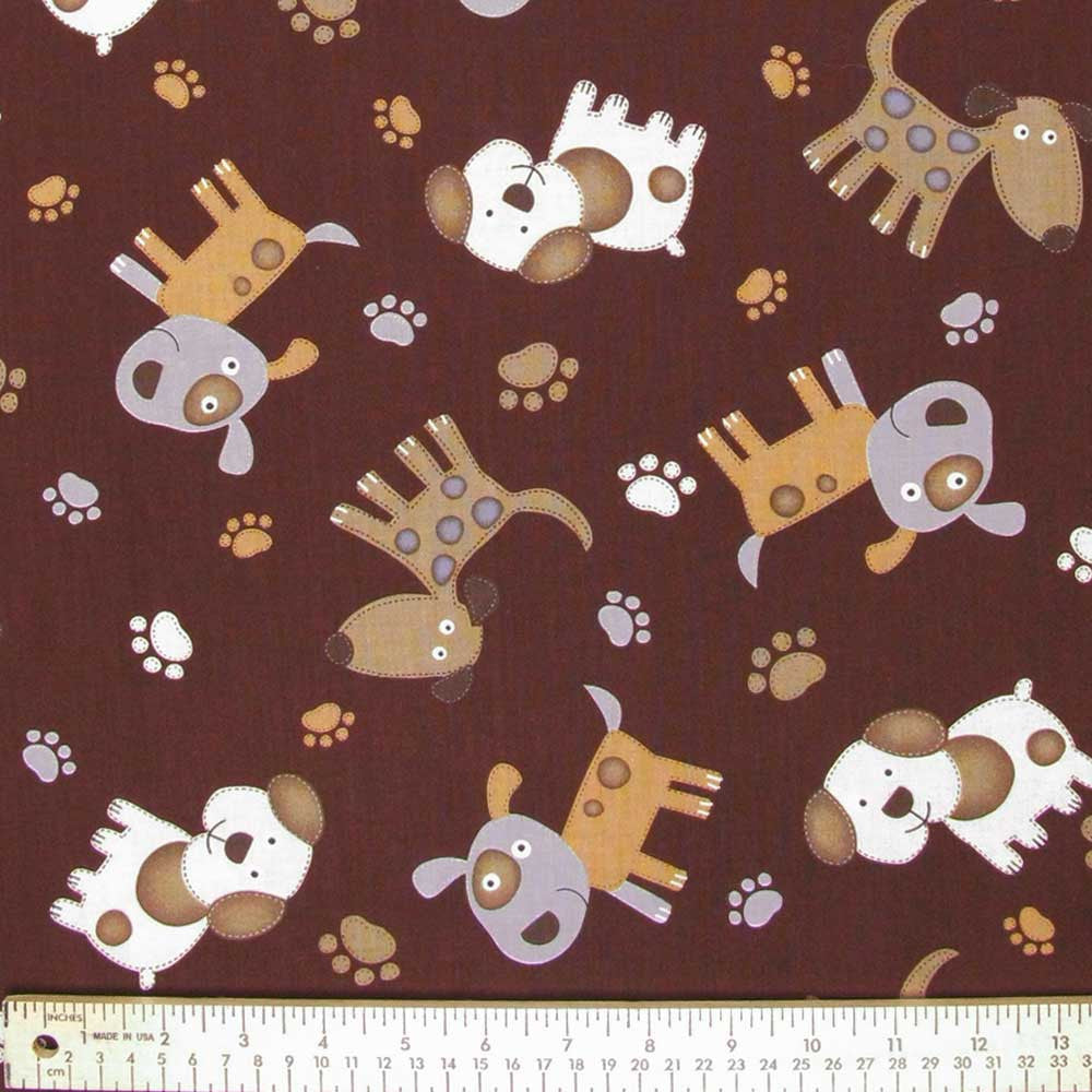 "TIMELESS TREASURES ""CATS & DOGS"" STITCHED DOGS Brown 32 inches"