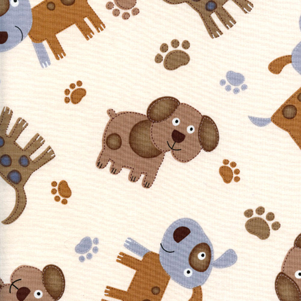 "TIMELESS TREASURES ""CATS & DOGS"" STITCHED DOGS Cream 24 inches"