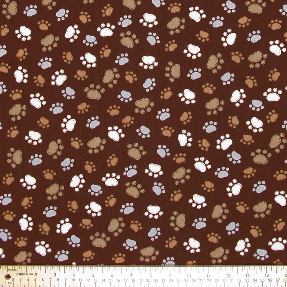 "TIMELESS TREASURES ""CATS & DOGS"" PAWS Brown 28.5 inches"