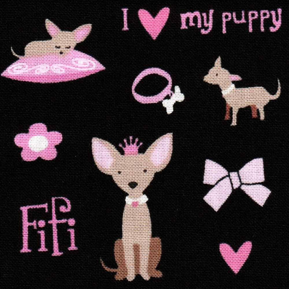 "TIMELESS TREASURES ""I LOVE MY PUPPY"" FIFI Black 25.5 inches"