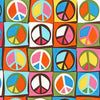 "ROBERT KAUFMAN ""FLOWER CHILD"" PEACE MARK Creamsicle"