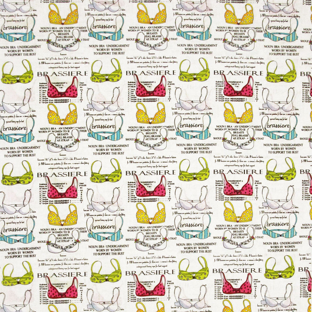 "TIMELESS TREASURES ""FUN"" BRASSIERE White by 1/2 yard"