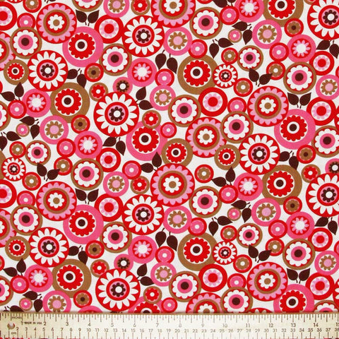 "TIMELESS TREASURES ""CONTEMPORARY"" FLOWER Red by 1/2 yard"
