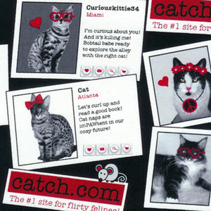 "TIMELESS TREASURES ""CATCH.COM"" Flirty Felines Black by 1/2 yard"