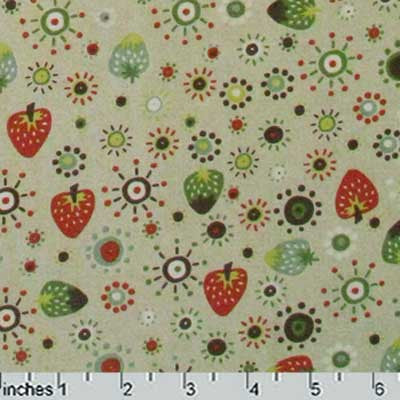 "FREE SPIRIT ""GARDEN FRIENDS"" STRAWBERRY Tan by 1/2 yard"