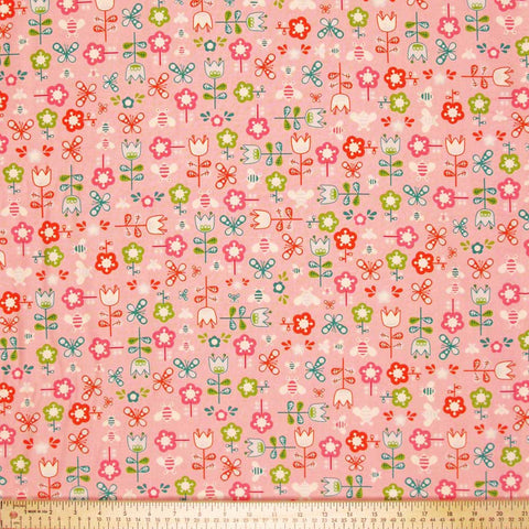 "ANDOVER ""GIRL FRIDAY"" GARDEN Pink by 1/2 yard"