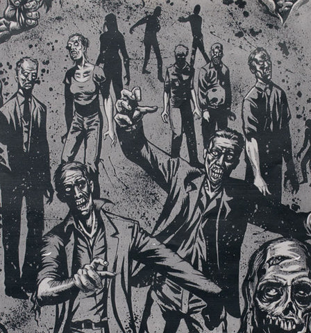 "ALEXANDER HENRY ""ZOMBIE!"" Charcoal by 1/2 yard"